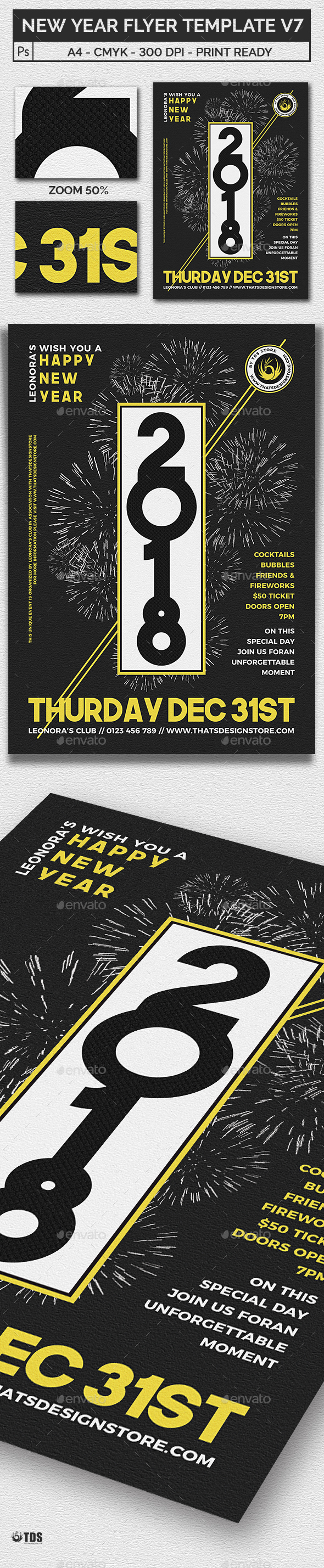 New Year Flyer Template V7 - Clubs & Parties Events