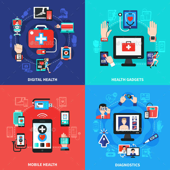 GraphicRiver Digital Health Gadgets Flat Concept 20903345