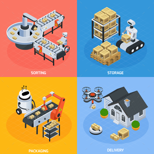 GraphicRiver Automatic Logistics Concept Icons Set 20903423