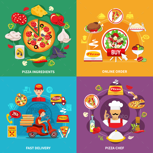 GraphicRiver Pizzeria Flat Design Concept 20903424