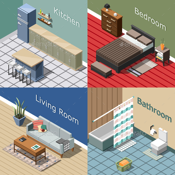 GraphicRiver Residential Interior Isometric Concept 20903425