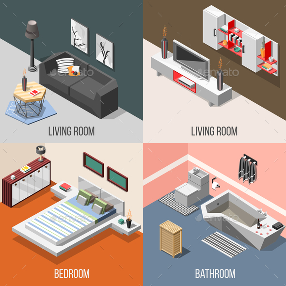 Futuristic Home Interior Isometric Concept - Buildings Objects