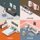 Futuristic Home Interior Isometric Concept