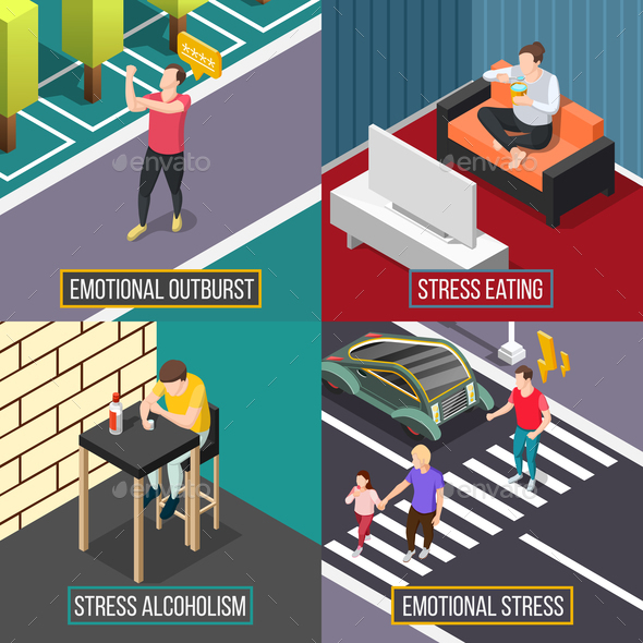 Stress People Isometric Concept - People Characters