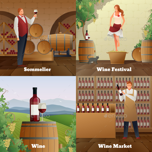 Wine Production Concept Icons Set - Business Conceptual