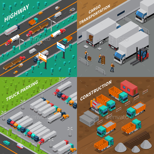 Trucks Isometric Design Concept - Business Conceptual