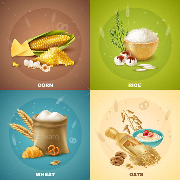 Cereals Design Concept - Food Objects