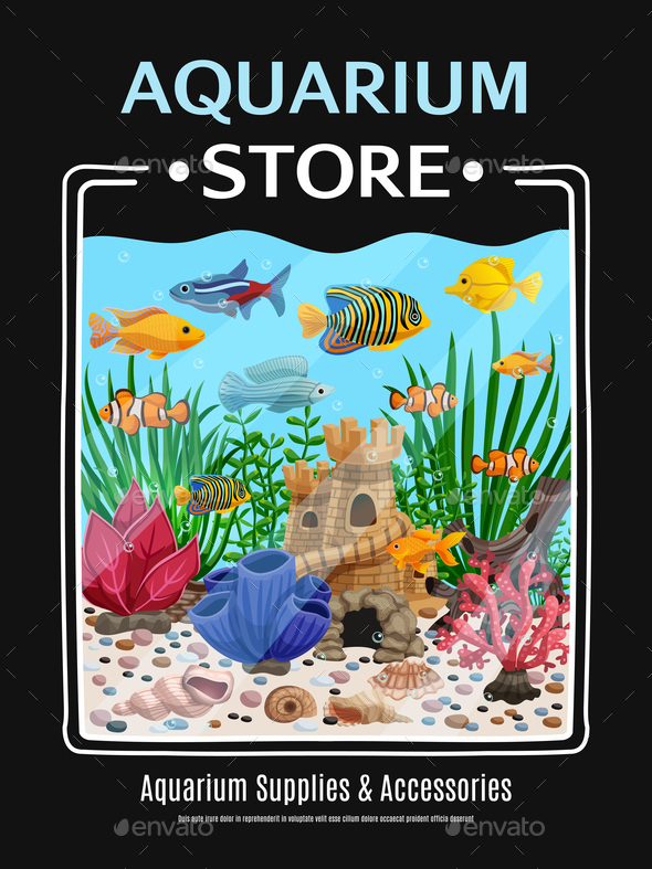 Aquarium Store Poster - Animals Characters