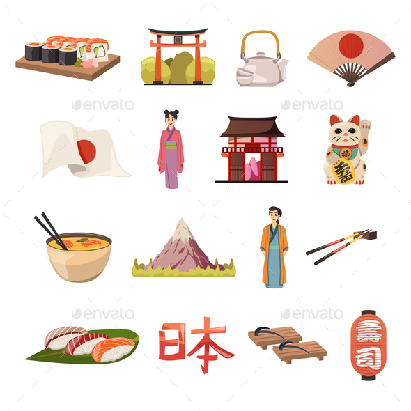 GraphicRiver Japan Culture Food Orthogonal Icons 20903472