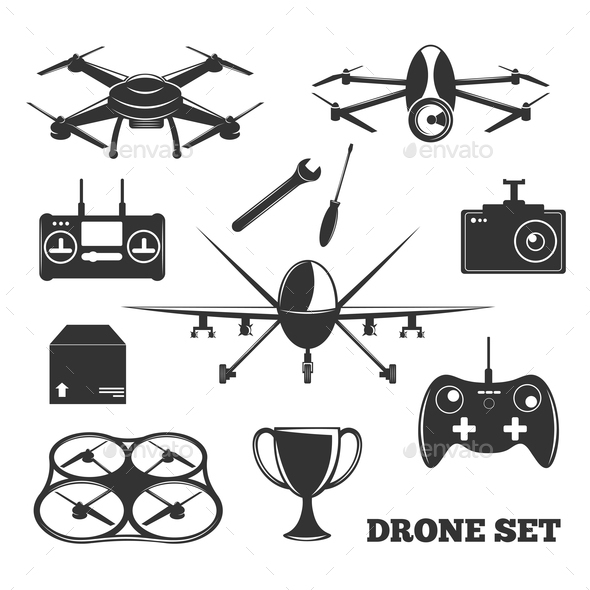 GraphicRiver Drone Elements Monochrome Set 20903477