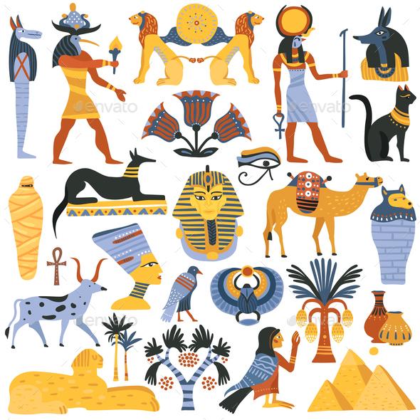 Ancient Egyptian Religion Elements Set - Religion Conceptual