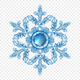 Realistic Snowflake Transparent Composition