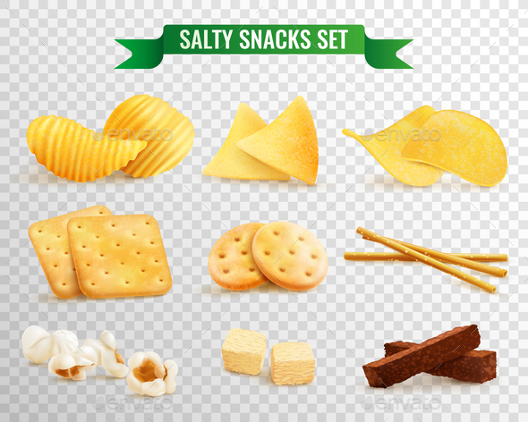 GraphicRiver Crispy Snacks Transparent Set 20903489