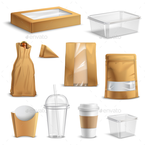 Fastfood Takeaway Packaging Realistic Set - Food Objects