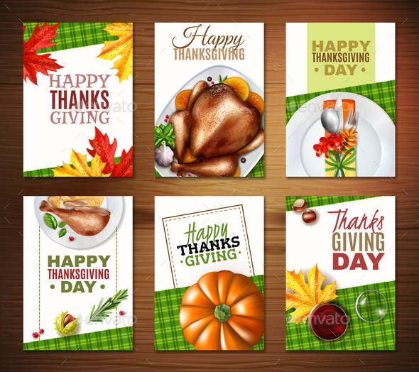 Realistic Turkey Thanksgiving Day Banner Set - Miscellaneous Seasons/Holidays