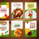 Realistic Turkey Thanksgiving Day Banner Set
