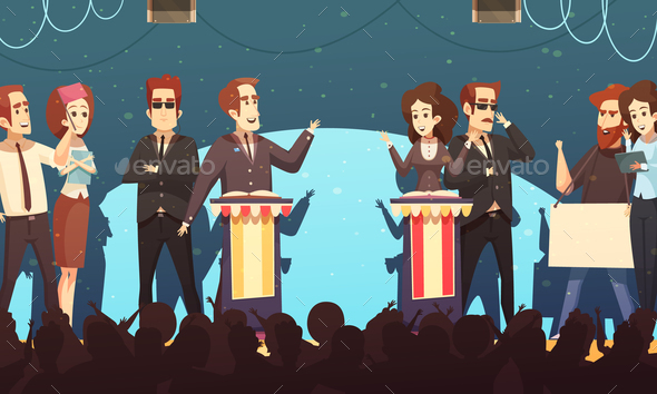 Politics Election Debates Cartoon Illustration - People Characters