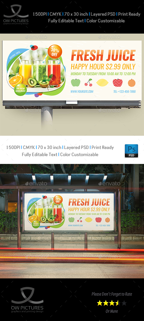 GraphicRiver Fresh Juice Billboard Template 20903523