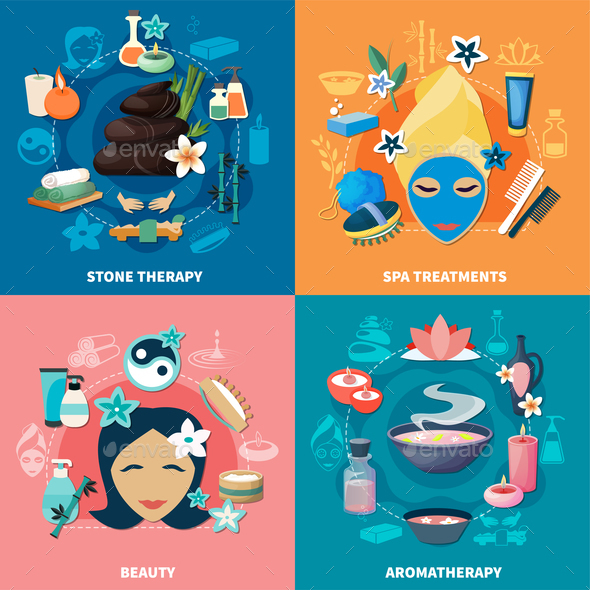 GraphicRiver Spa Treatments 4 Flat Icons 20903545