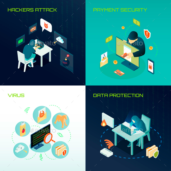 Hacker Isometric Design Concept - People Characters