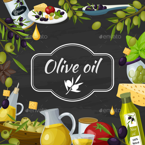 GraphicRiver Olive Oil Cartoon Blackboard Composition 20903556