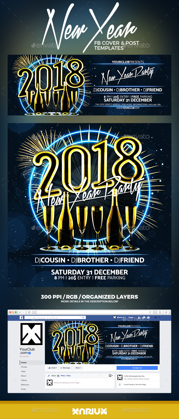 GraphicRiver New Year Party Facebook Cover 20904233