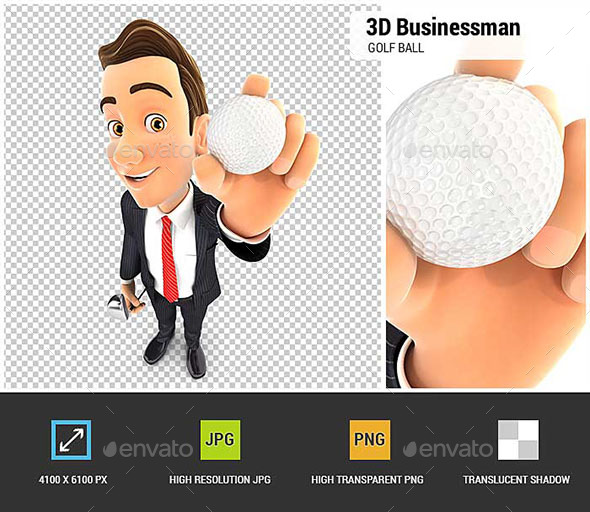3D Businessman Holding Golf Ball - Characters 3D Renders