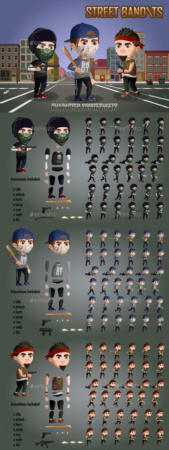 GraphicRiver 2D Street Bandits Character Sprites 20904307