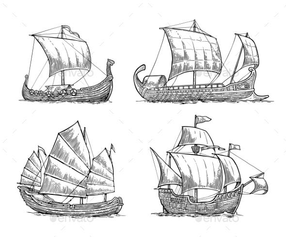 GraphicRiver Trireme Caravel Drakkar Junk Set Sailing Ships 20904303