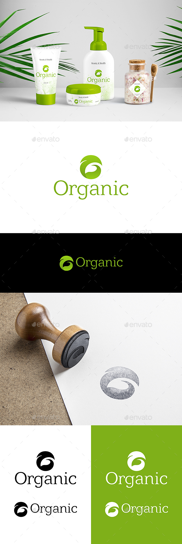 Organic Logo Green Leaf Logo Template - Nature Logo Templates