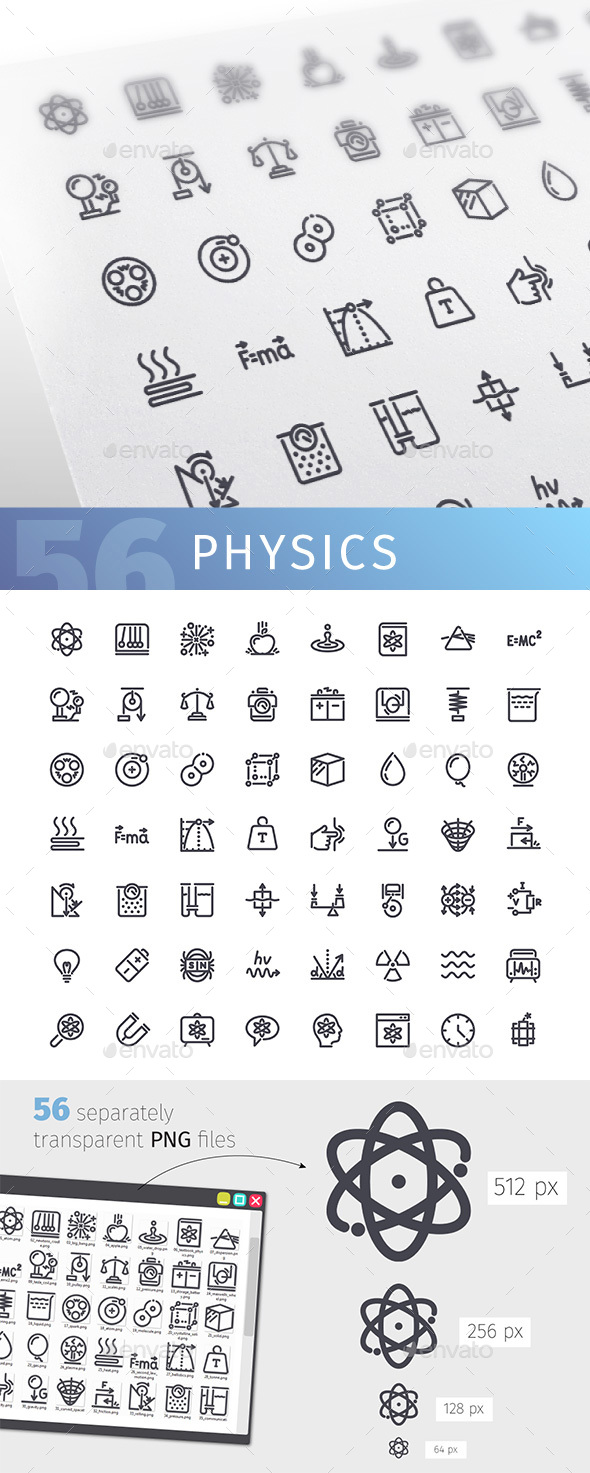 GraphicRiver Physics Line Icons Set 20904364