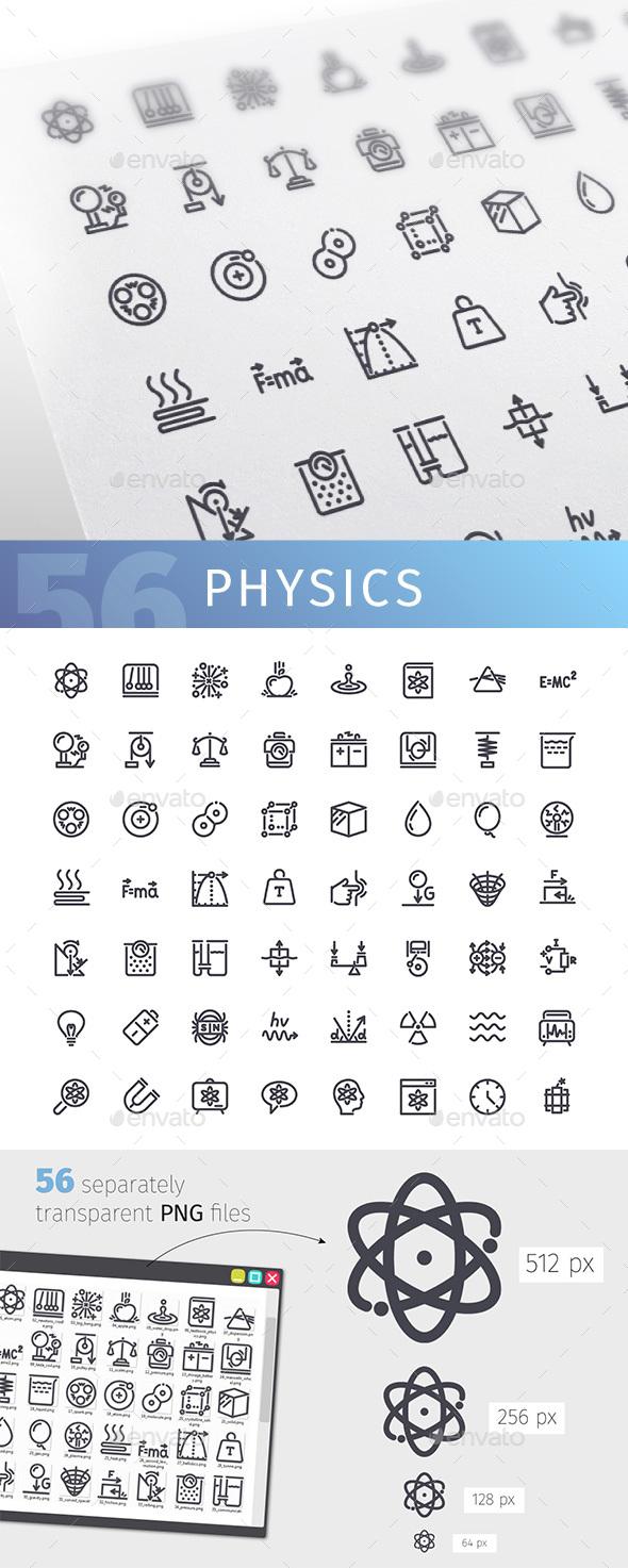Physics Line Icons Set - Technology Icons