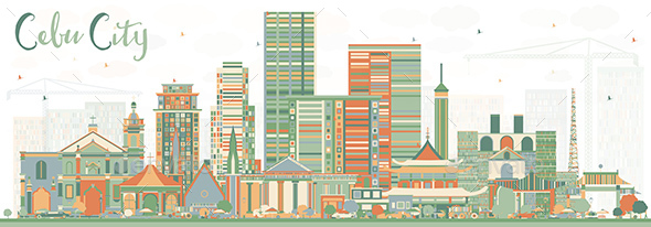 GraphicRiver Cebu City Philippines Skyline with Color Buildings 20904415
