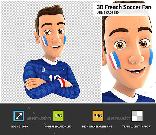 3D French Soccer Fan with Arms Crossed - Characters 3D Renders