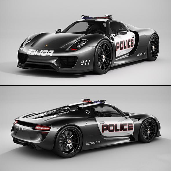 3DOcean Porsche 918 Spyder Police Lowpoly 20904478
