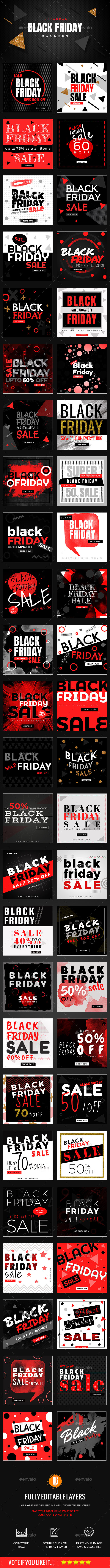 50 Black Friday Instagram Banners - Social Media Web Elements