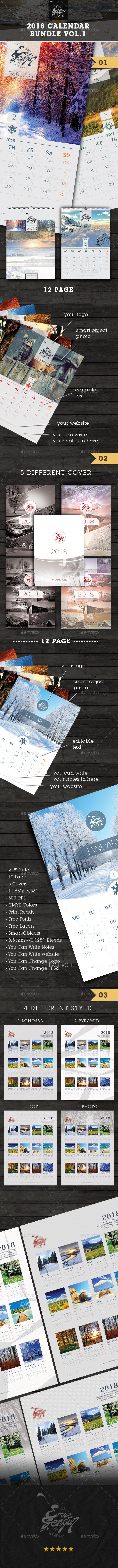 GraphicRiver 2018 Calendar Box Bundle Vol.1 20904526