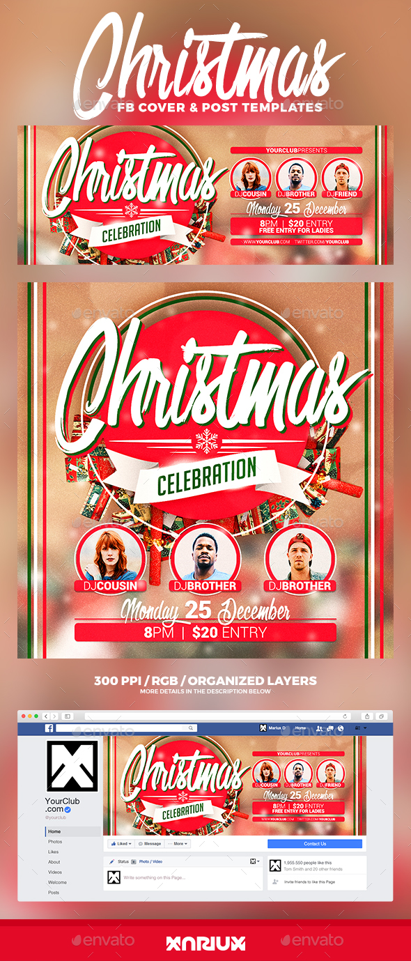 Christmas Celebration Facebook Cover - Social Media Web Elements