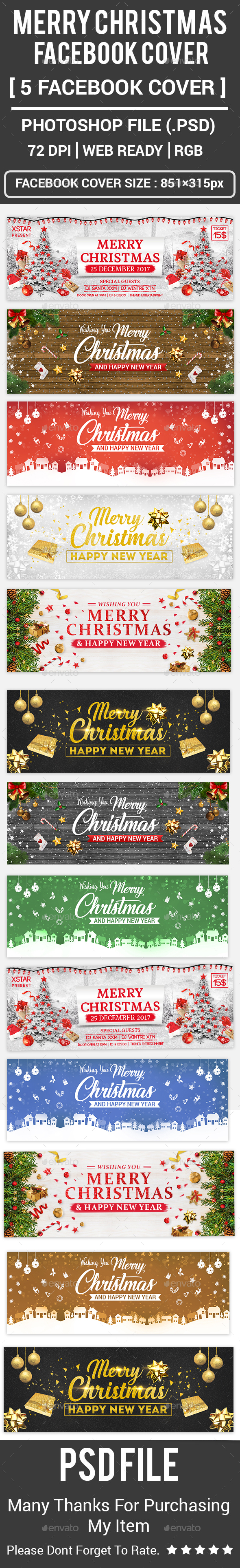GraphicRiver Merry Christmas Facebook Covers 20904661