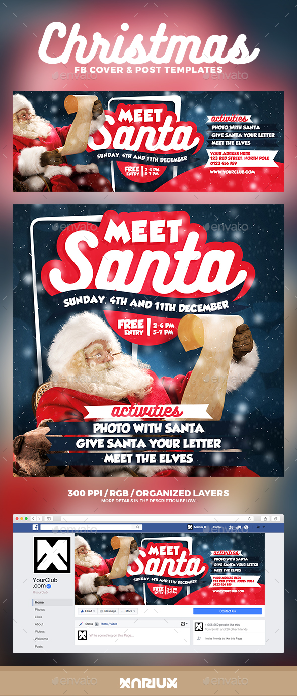 Meet Santa Facebook Cover - Social Media Web Elements