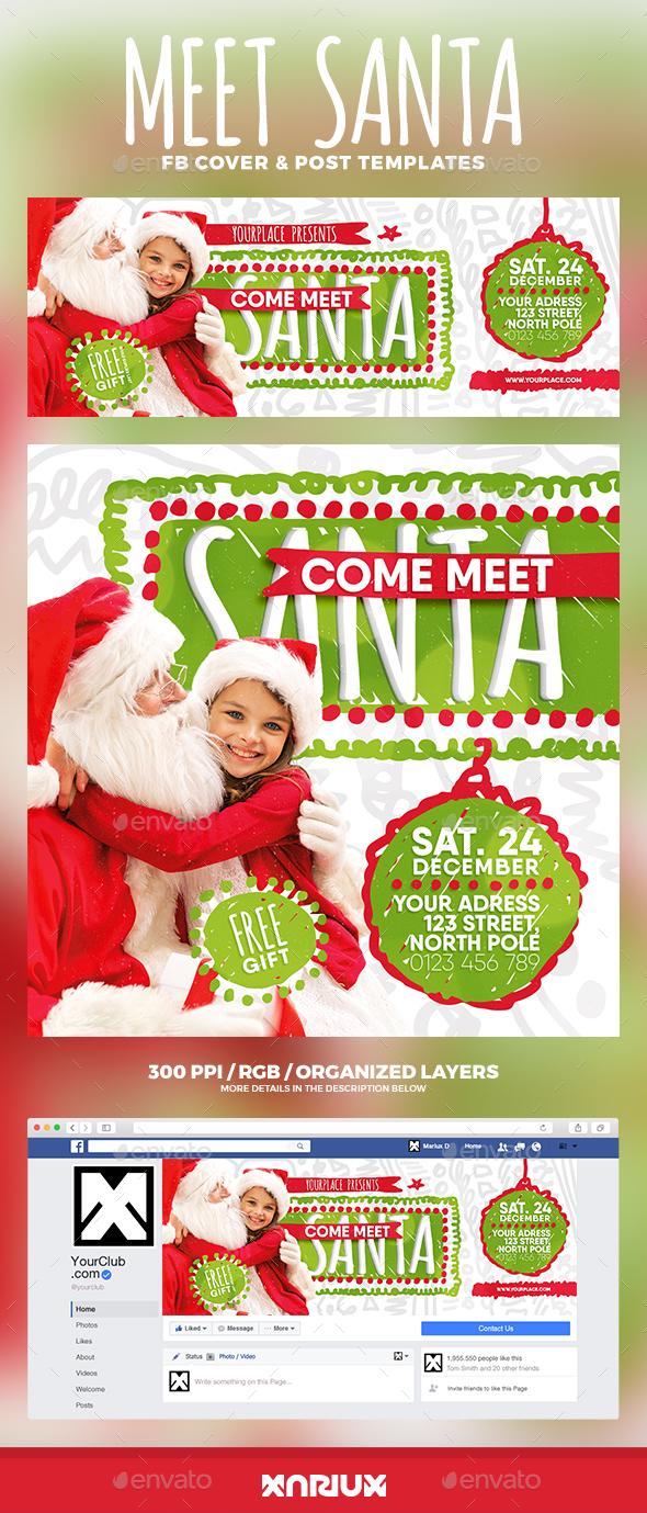 Meet Santa Facebook Cover - Social Media Web Elements