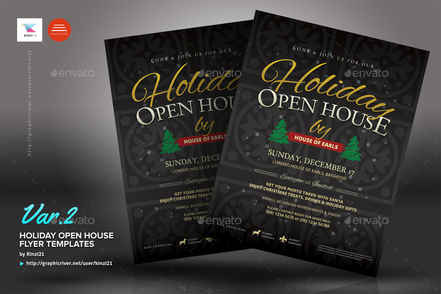 Holiday Open House Flyer Templates By Kinzi21 | GraphicRiver