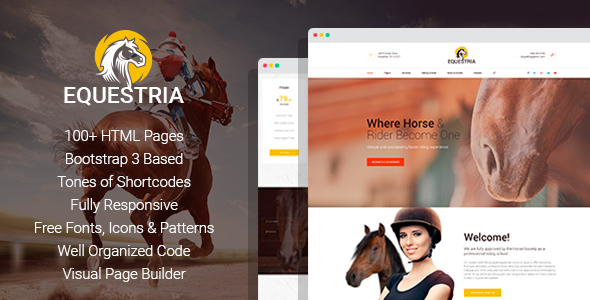 Image of Equestria+ - Horse Club HTML Template with Page Builder