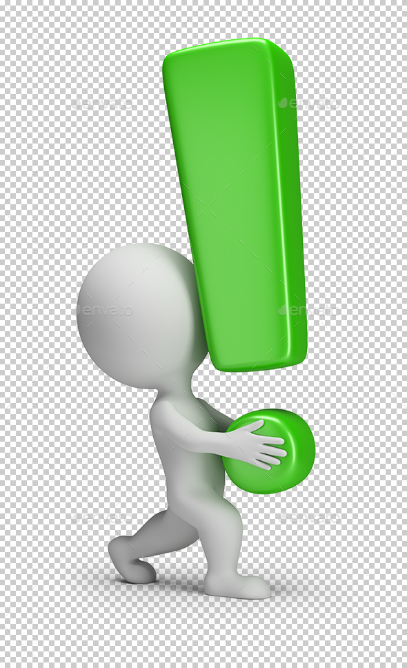 3D Small People - Carries an Exclamation Mark - Characters 3D Renders