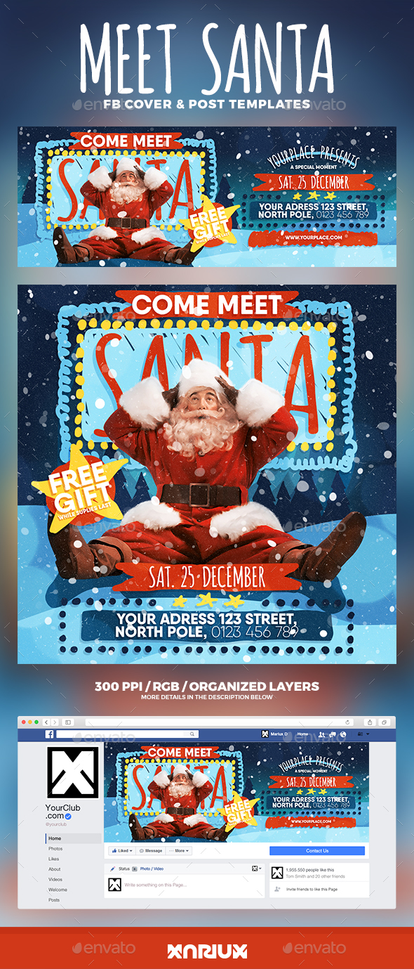 GraphicRiver Come Meet Santa Facebook Cover 20905063