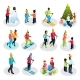 Isometric People on Winter Holidays Set