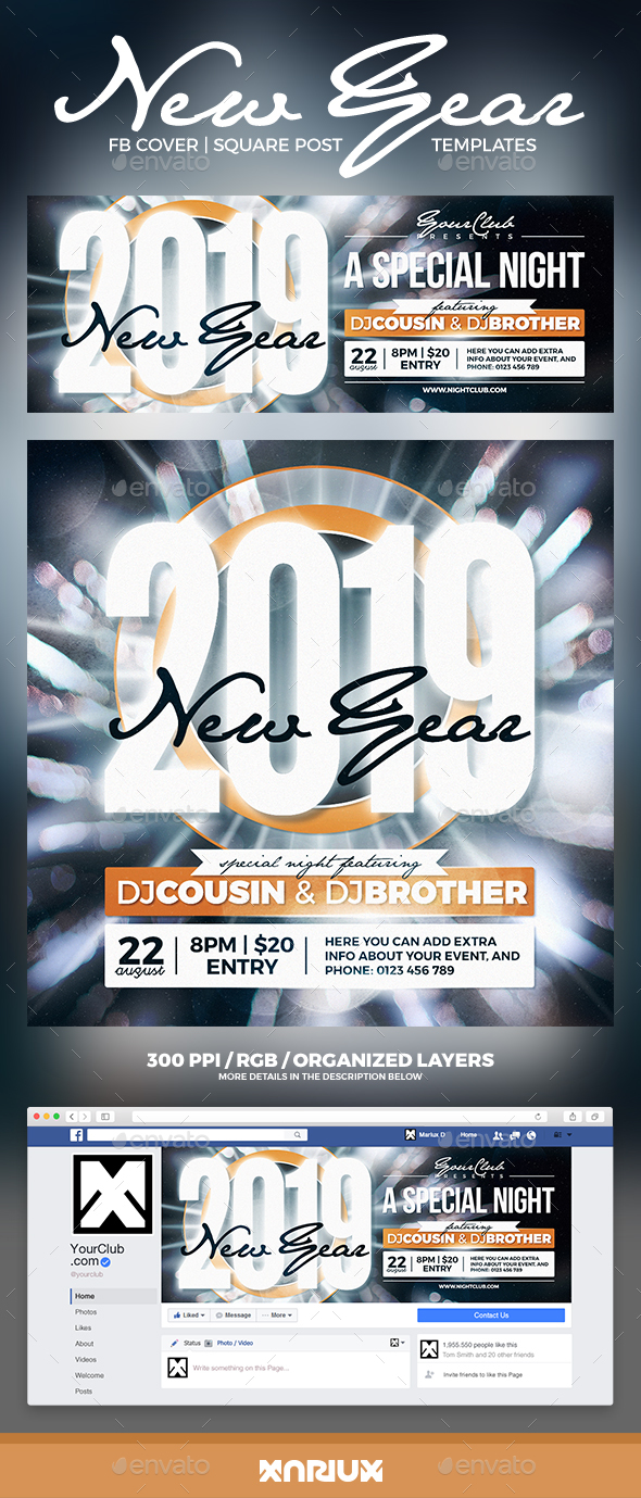 GraphicRiver New Year Party Facebook Cover 20905683