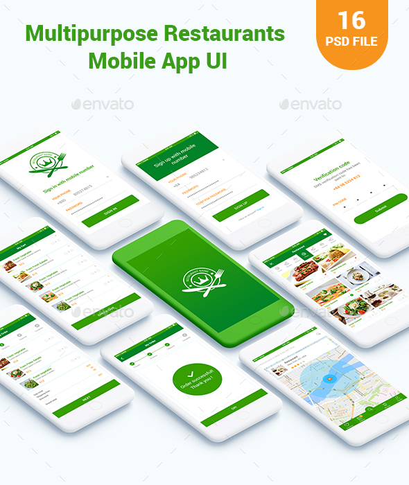 GraphicRiver Multipurpose Food Restaurants Mobile App UI 20905775