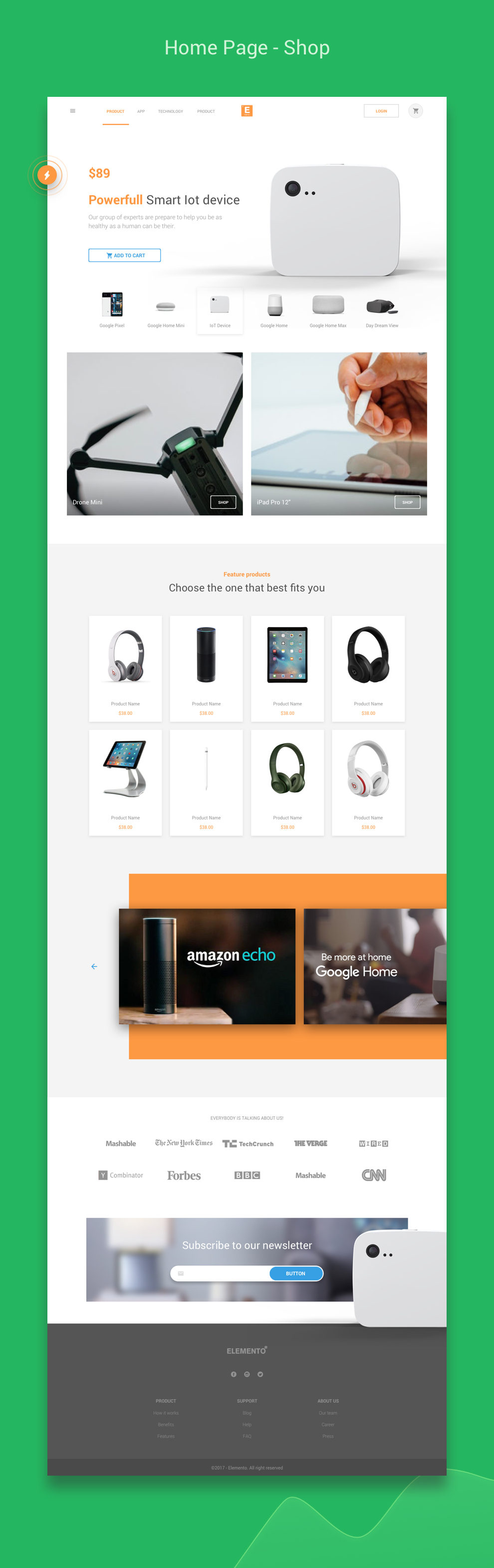 Elemento multi purpose template for startups sketch for Homepage shop