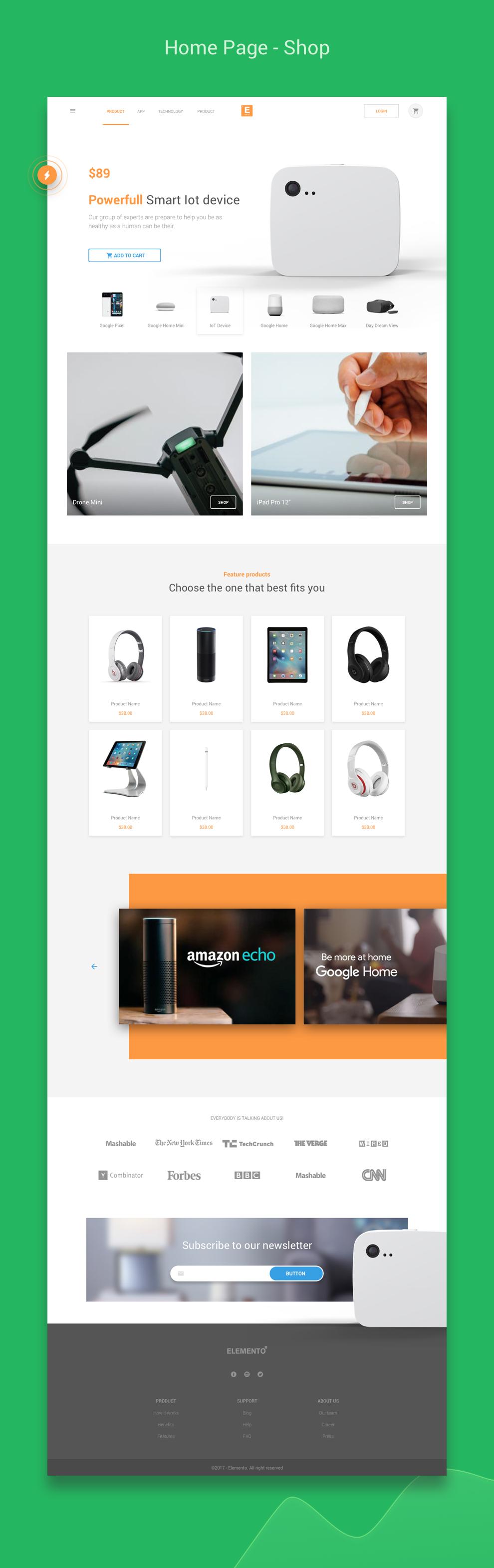 Elemento Multi Purpose Template For Startups Sketch